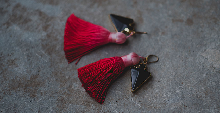 Bunched Together ✪ Stone Jewelry ✪ Cherry Shaded Tassels earrings { 26 }
