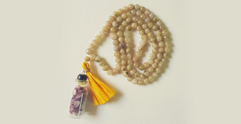 Bunched Together ✪ Stone Jewelry ✪ Shades of green stones Mala { 6 }