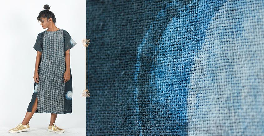 Rebirth in clay ⚘ Natural Dyed ⚘ Indigo Paneled Checkered Dress ⚘ 35