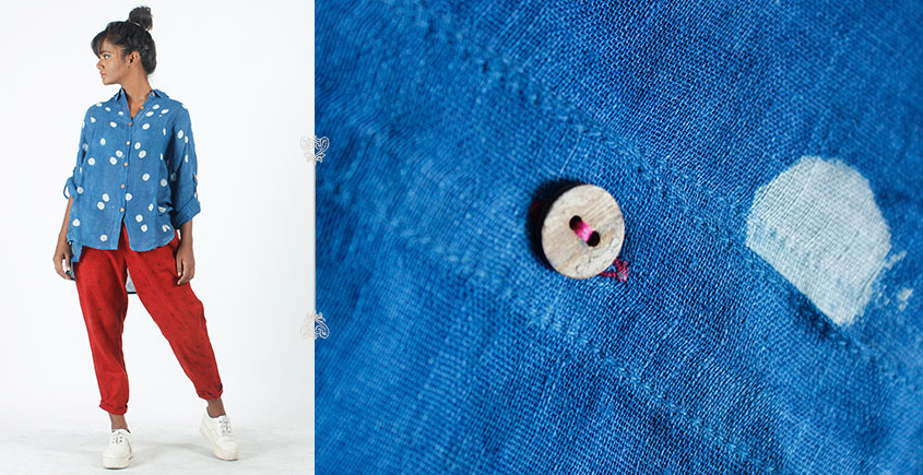 Rebirth in clay ⚘ Natural Dyed ⚘ Blue Polka Shirt ⚘ 5
