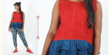 Rebirth in clay ⚘ Natural Dyed ⚘ Red Blue Peplum Top ⚘ 19