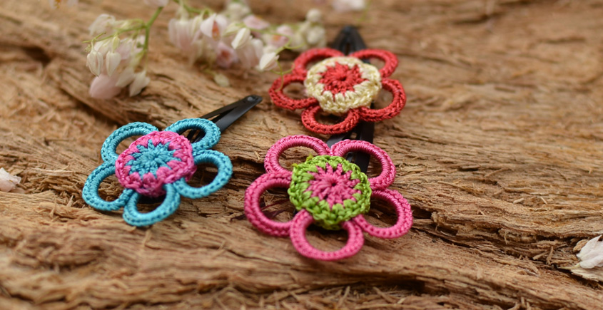 Samoolam ⚘ Crochet jewelry { Hair Clips } 30