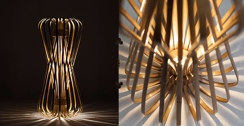Infinity - Medium - Natural Lacquer ☙ Bamboo . Floor lamp - 10