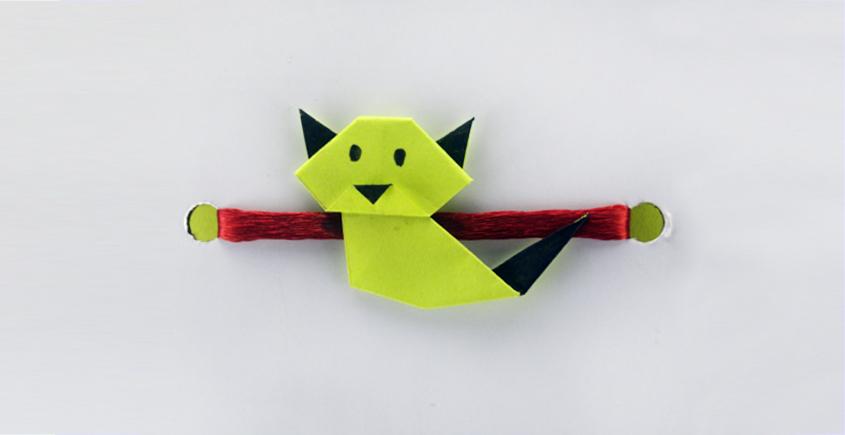 Paper Origami╶◉╴Rakhi { Green Cat }