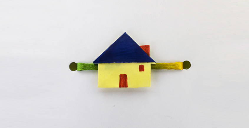 Paper Origami╶◉╴Rakhi { Yellow House - L }