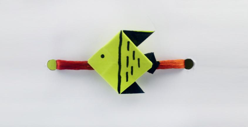 Paper Origami╶◉╴Rakhi { Green Fish }