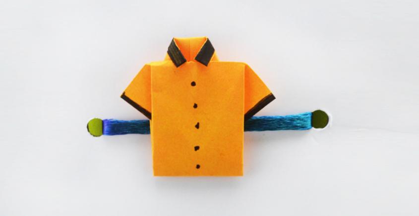 Paper Origami╶◉╴Rakhi { Orange Shirt }