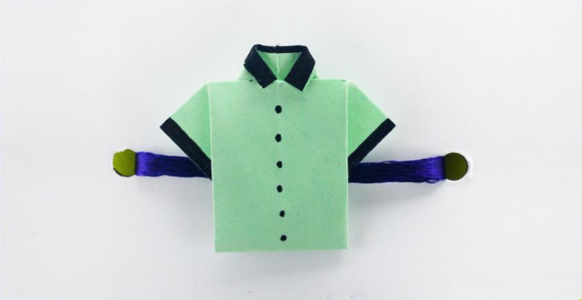 Paper Origami╶◉╴Rakhi { Light Green Shirt }