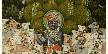 Sri Krishna with Cow  ( 33 X 43 inch )