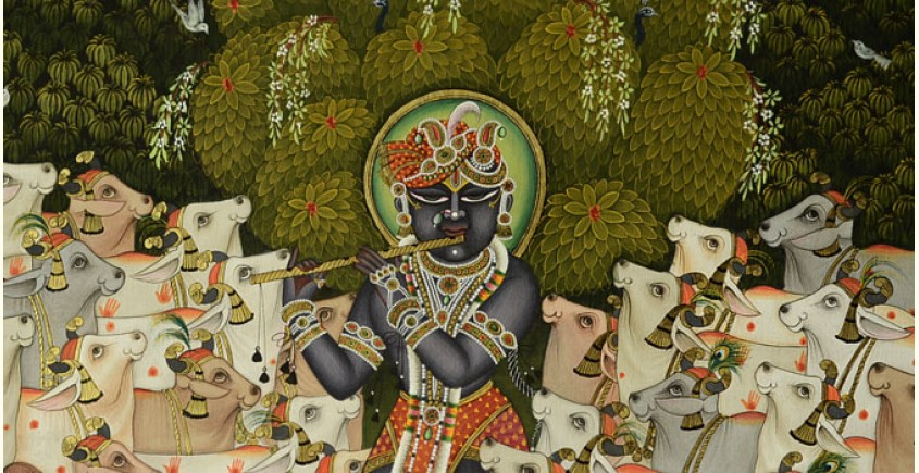 Organic Beauty Products >> Sri Krishna with Cow ( 33 X 43 inch )