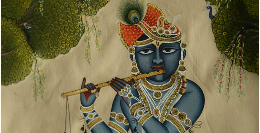 Krishna with cows  ( 35 X 24 inch )