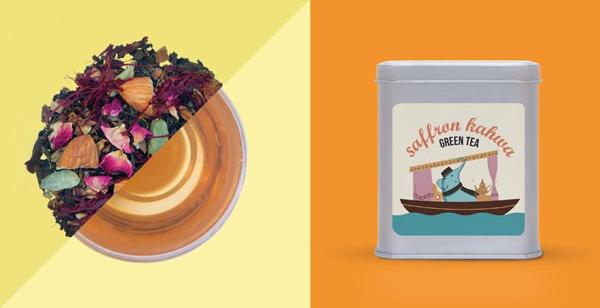 Saffron Kahwa Green Tea  ~ ( Organic . 15 tea bags )