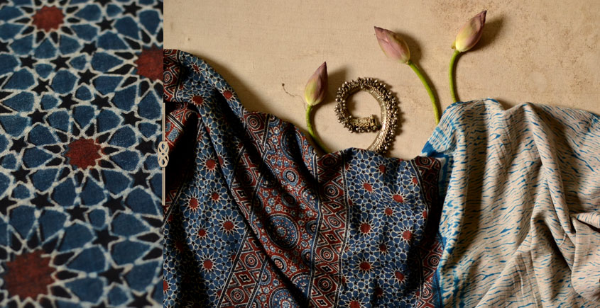 मृणालिनी ☘ Mul Cotton ☘ Ajrakh Bandhani Saree ~ 2