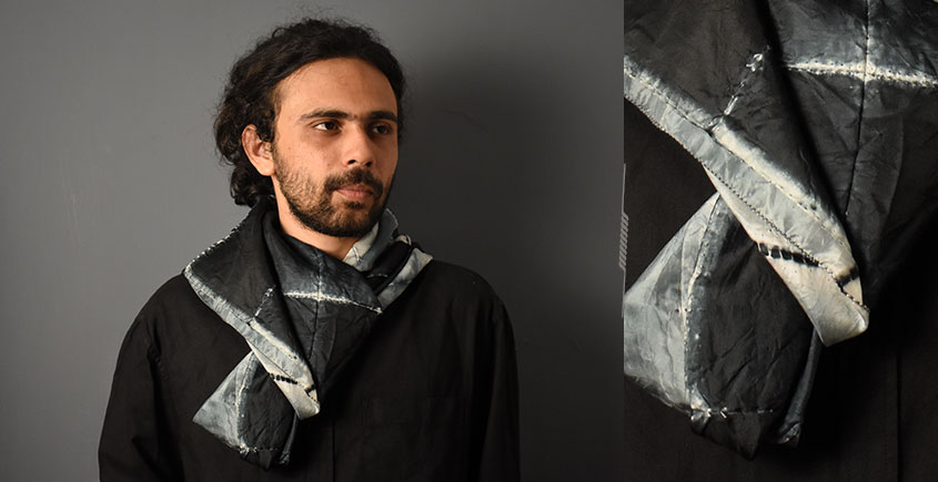 64 Square ♢ Clamp Dyed Tabby Silk Scarf ♢ 22