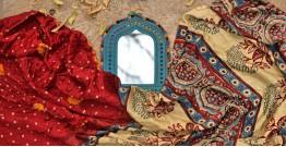 शिशिर ❀ Gajji Silk Ajrakh Bandhani Saree ❀ A