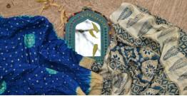 शिशिर ❀ Gajji Silk Ajrakh Bandhani Saree ❀ C