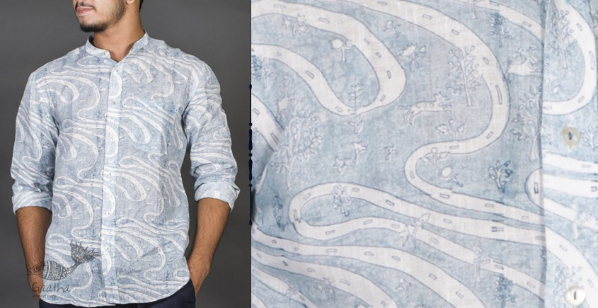 Shop online clock printed cotton men shirts for special occasions