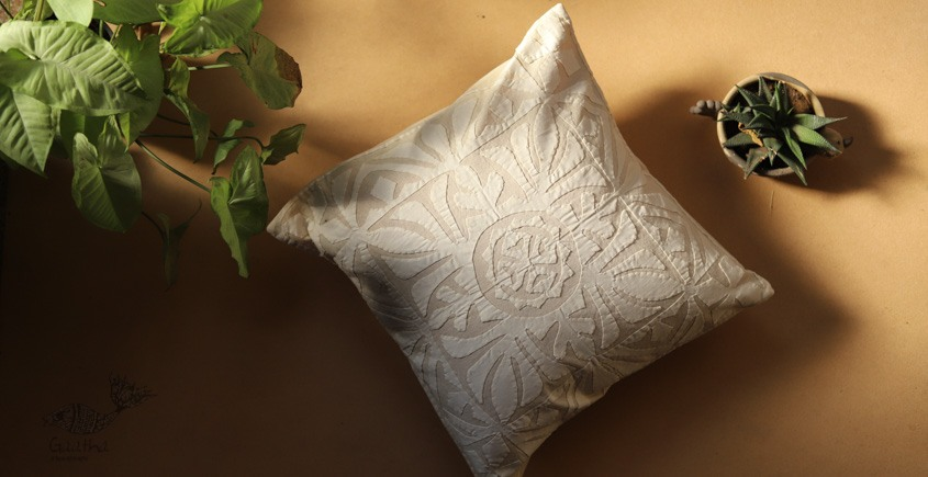 online Applique work Cushion Cover in white 1