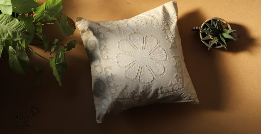 online Applique work Cushion Cover in white 2
