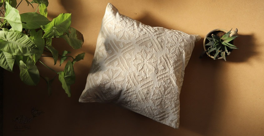 online Applique work Cushion Cover in white 3