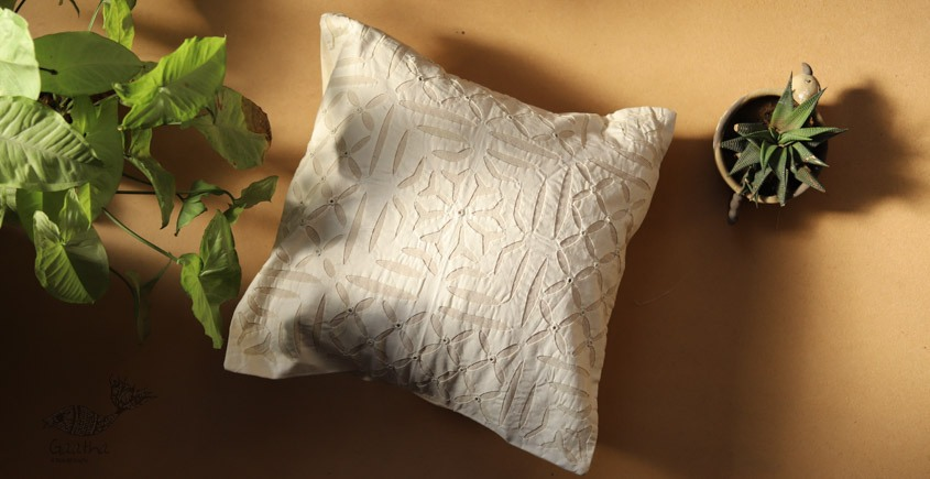 online Applique work Cushion Cover in white 5