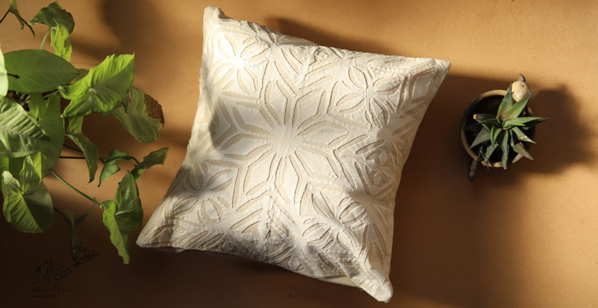 online Applique work Cushion Cover in white 7