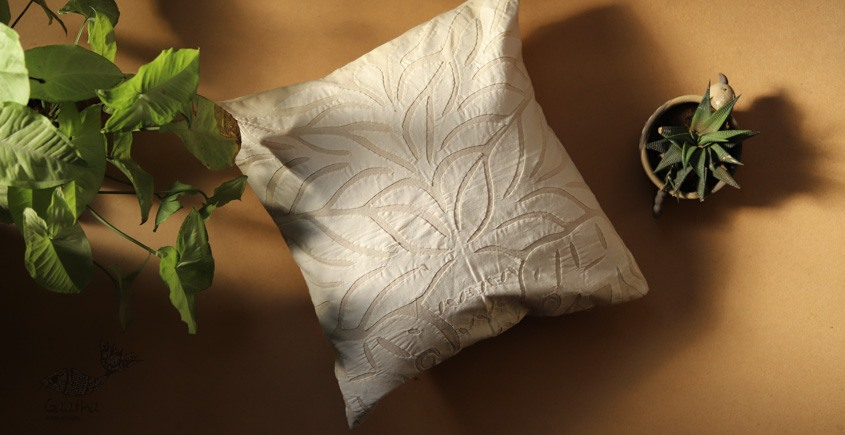 online Applique work Cushion Cover in white 8