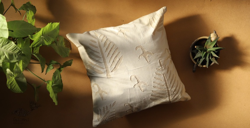 online Applique work Cushion Cover in white 12