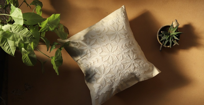 online Applique work Cushion Cover in white 13