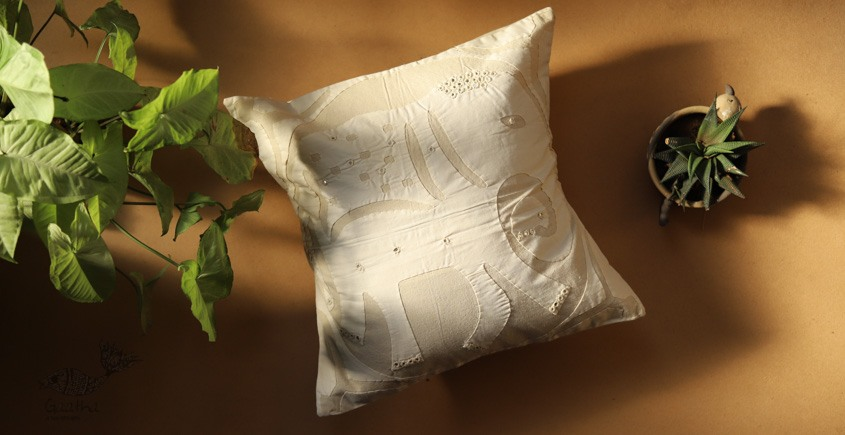 online Applique work Cushion Cover in white 14
