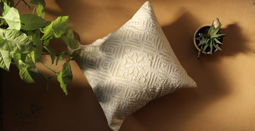 online Applique work Cushion Cover in white 15
