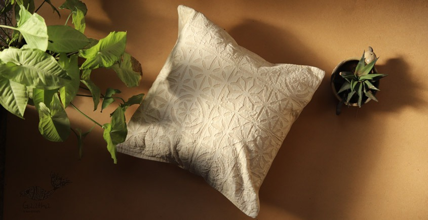 online Applique work Cushion Cover in white 16