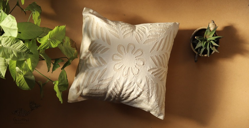 online Applique work Cushion Cover in white 20