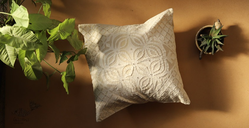 online Applique work Cushion Cover in white 21