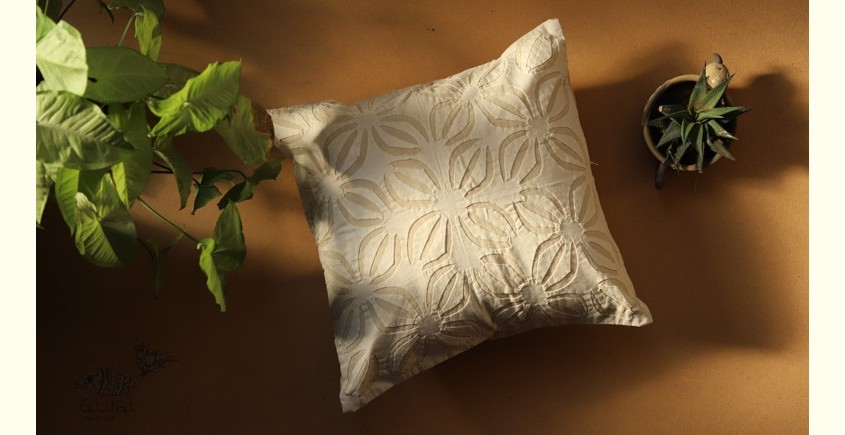 online Applique work Cushion Cover in white 23