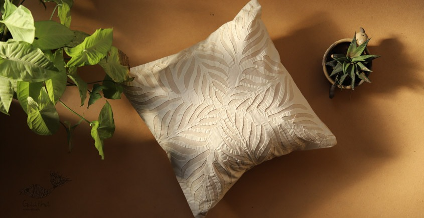 online Applique work Cushion Cover in white 24