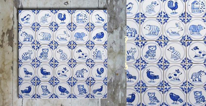 Grace the wall ~ DUTCH MURAL-E (Set of 25 tiles)