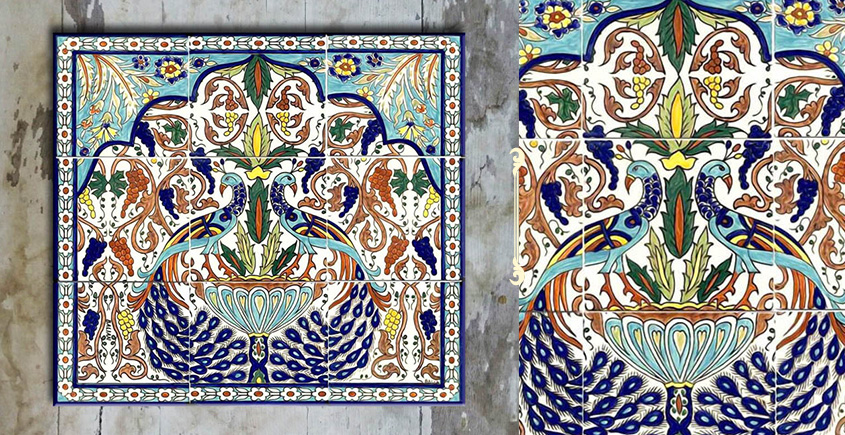 Grace the wall ~ TURKISH MURAL-L (Set of 9 tiles)