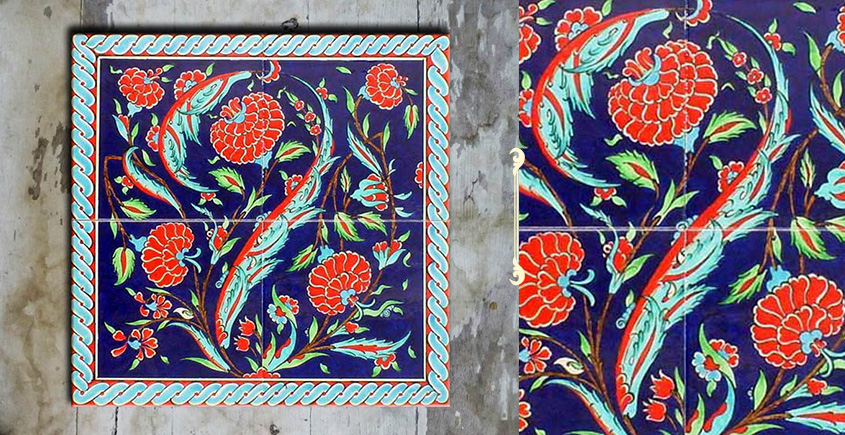 Grace the wall ~ TURKISH MURAL-R (Set of 4 tiles)