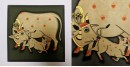 बनवारी ☙ Pichwai Painting ☙ Gopashtami Cows { 8 x 8 inch } - Gray {R}