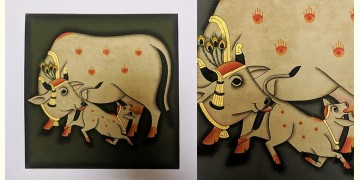 बनवारी ☙ Pichwai Painting ☙ Gopashtami Cows { 8 x 8 inch } - Gray {R}