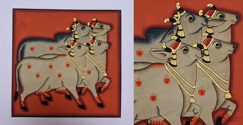 बनवारी ☙ Pichwai Painting ☙ Gopashtami Cows { 8 x 8 inch } - Red