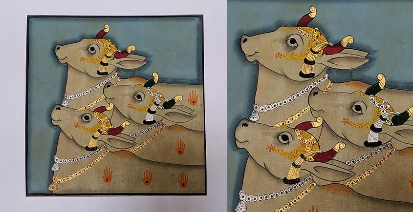 बनवारी ☙ Pichwai Painting ☙ Gopashtami Cows { 8 x 8 inch } - Blue