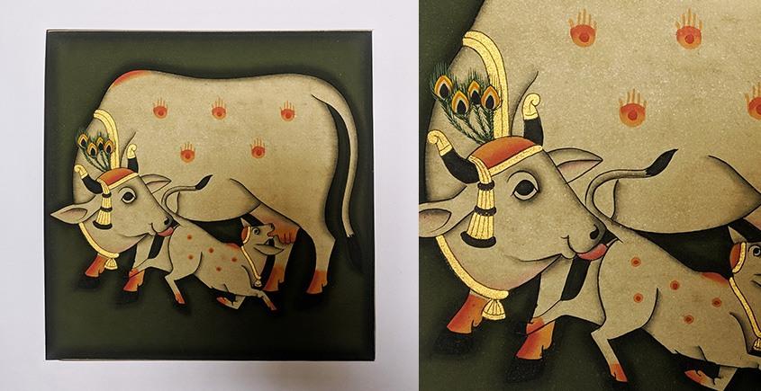 बनवारी ☙ Pichwai Painting ☙ Gopashtami Cows { 8 x 8 inch } - Green {F}