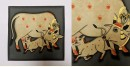 बनवारी ☙ Pichwai Painting ☙ Gopashtami Cows { 8 x 8 inch } - Gray {L}