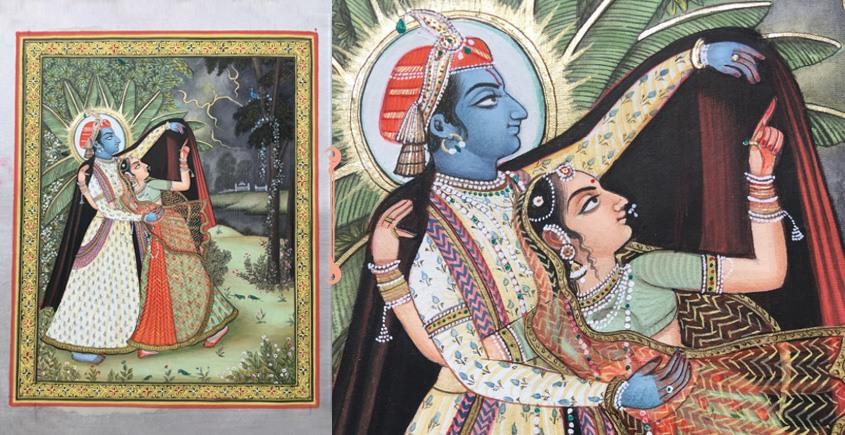Miniature Painting ~ Rajasthan ~ Radha krishna in the Rain