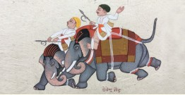 Miniature Painting from Rajasthan ~ Elephant rider