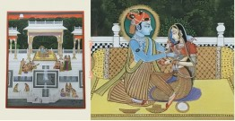 Miniature Painting ~ Rajasthan ~ Radha Krishna with Sakhi
