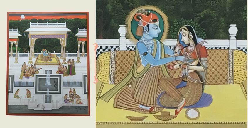 Miniature Painting ~ Rajasthan ~ Radha Krishna with Sakhi