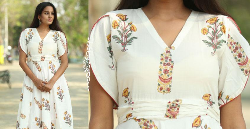 d6d4ab5da464d Buy Sanghaneri Hand block printed Mughal print off white dress